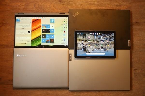 現役で使っているLenovoノートパソコン5台の写真・Ideapad S540、Ideapad flex 550i, Ideapad 320s, Ideapad duet chromebook,Thinpad e15 Gen 2