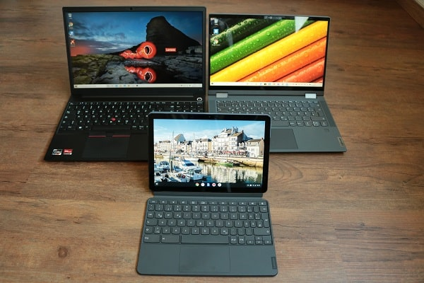 2020年に購入したLenovoノートパソコン・ThinkPad E15 Gen 2、Ideapad flex 550i、Ideapad duet Chromebook