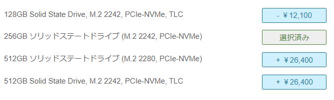 Lenovo thinkpad E595のストレージ