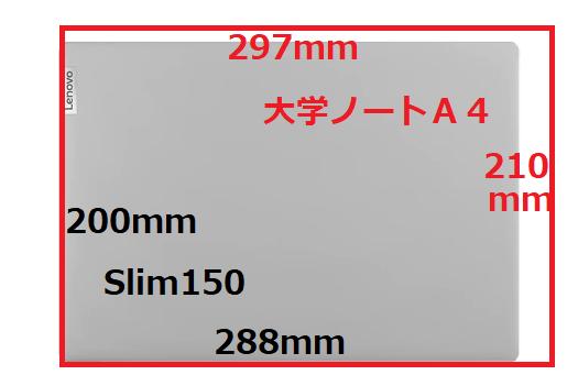 ideapad slim150のサイズは大学ノートA4サイズ以下