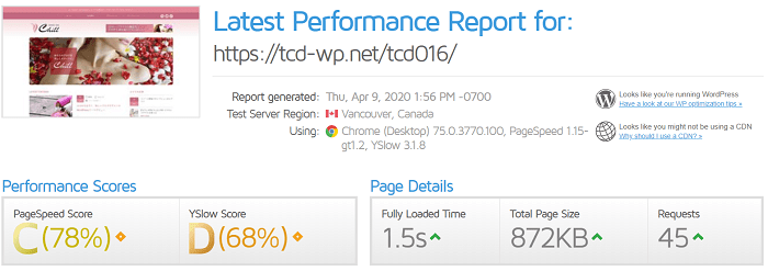 ブログテーマの速度比較