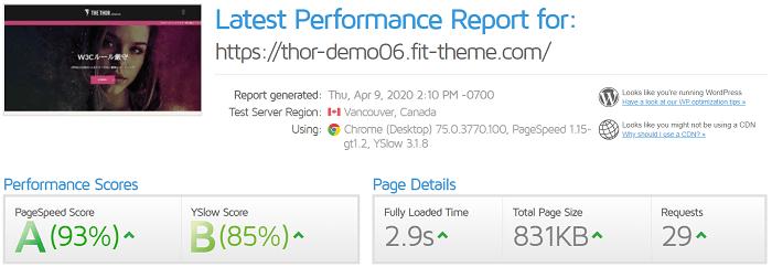 ブログテーマの速度比較・トール(THE THOR)