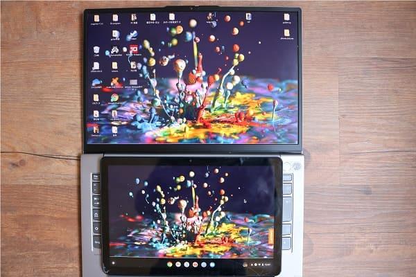 IdeaPad Duet ChromebookのディスプレイとsRGB 100のディスプレイの比較