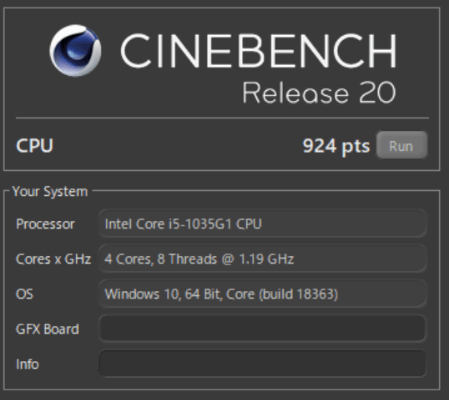 Flex 550 Intel core i5-1035G1のCinebench R20のベンチマークスコア