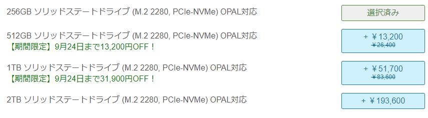Lenovo thinkpad P17のストレージの種類と金額