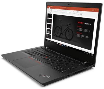 Lenovo ThinkPad L14 Gen 1(AMD)の外観・右斜め前から