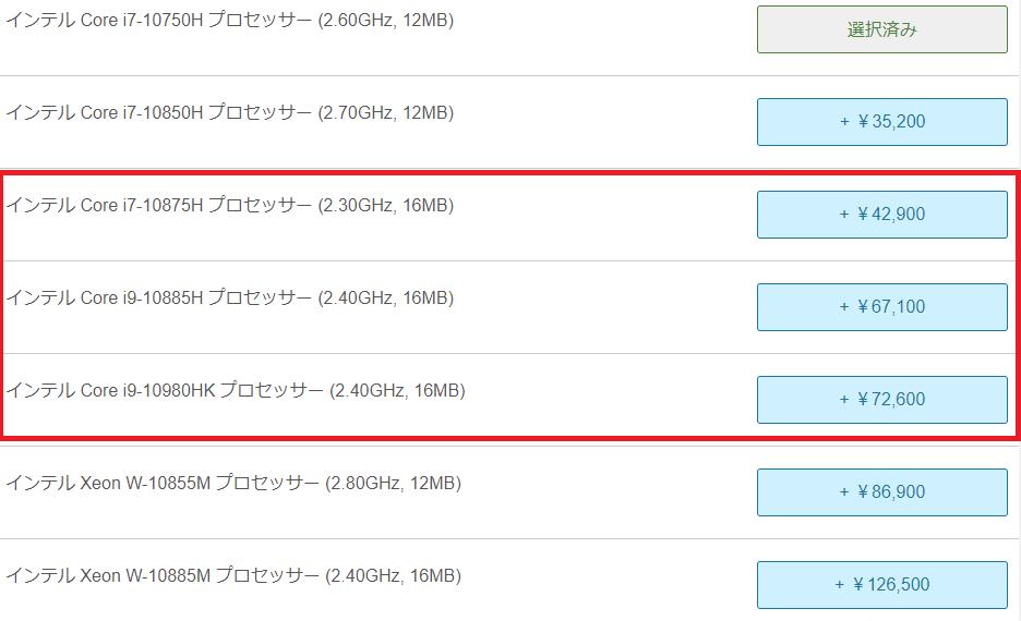 Lenovo thinkpad P15のCPU価格