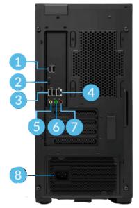 Legion T550 AMDの背面インターフェイス
