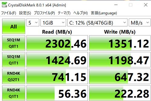 ThinkBook 13s Gen 2 ストレージのシーケンシャル速度