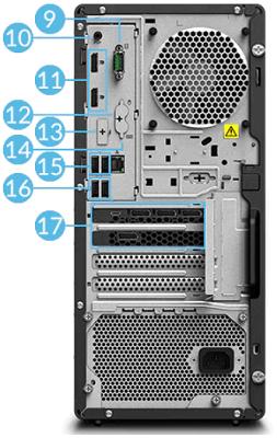 Lenovo ThinkStation P340 Tower・インターフェイス背面