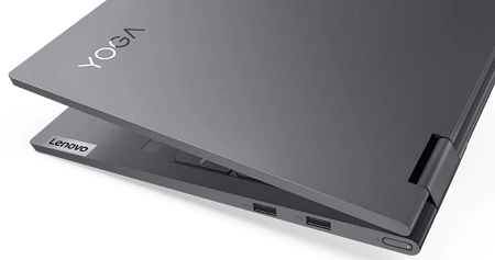 Lenovo Yoga 750i(第11世代CPU)の外観 丸みを帯びた筐体のエッジ