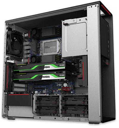 Lenovo thinkStation P620の筐体内部