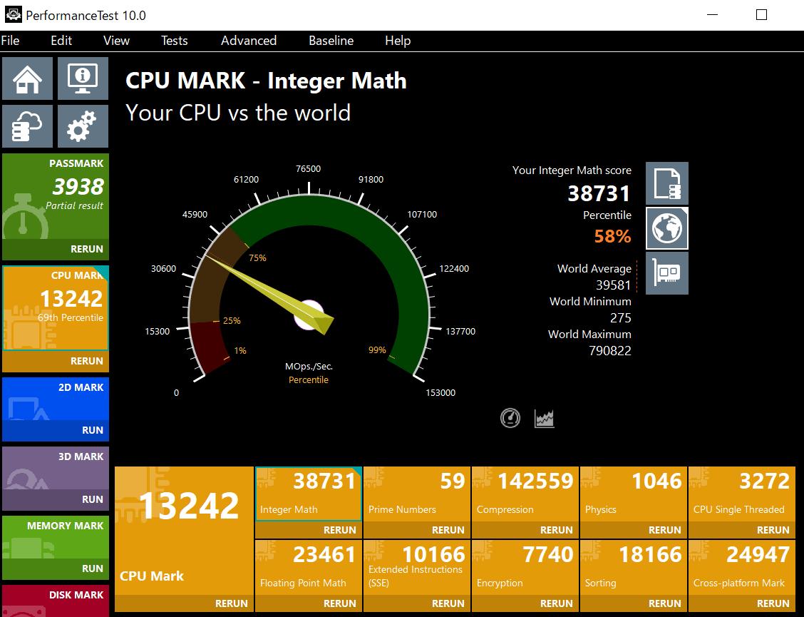 ThinkBook 13s Gen 2 Core i7-1165G7のCPU Passmarkスコア