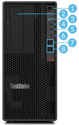 Lenovo ThinkStation P340 Tower・インターフェイス前面