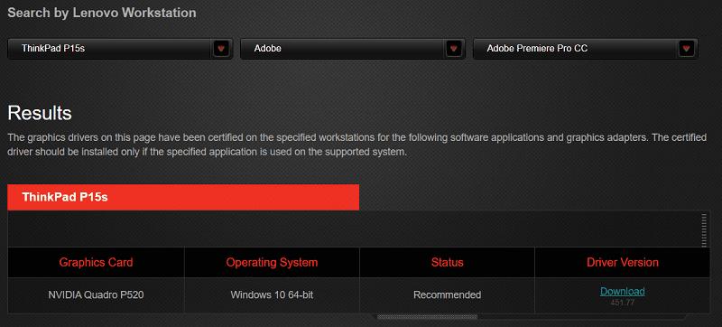 lenovo thinkpad 14sで認証されているソフトウェアの例 Adobe premiere Pro cc