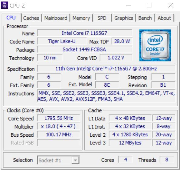 CPU ZでThinkbook 13s Gen 2のCore i7-1165G7を調べた結果