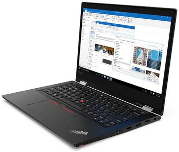 Lenovo ThinkPad L13 Yoga Gen 2の外観 右斜め前から