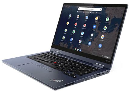 Lenovo ThinkPad C13 Yoga Chromebookの外観 右斜め前から
