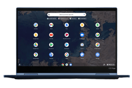 Lenovo ThinkPad C13 Yoga Chromebookの外観 正面