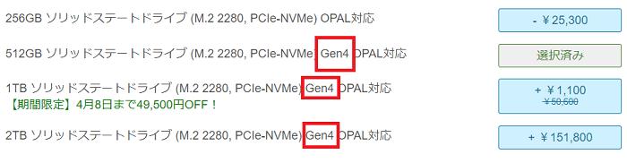 Lenovo thinkpad x1 Carbon Gen 9のストレージの種類
