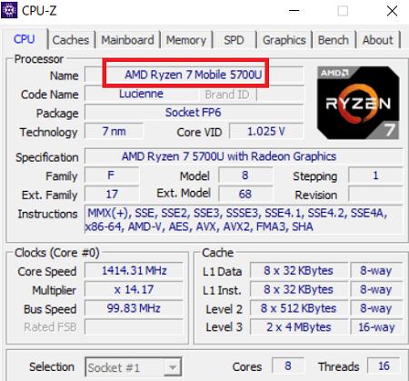 CPU-Z CPUの情報
