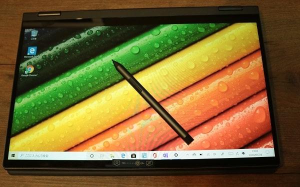 Lenovo Ideapad flex 550 AMD のディスプレイ(タブレットモード)