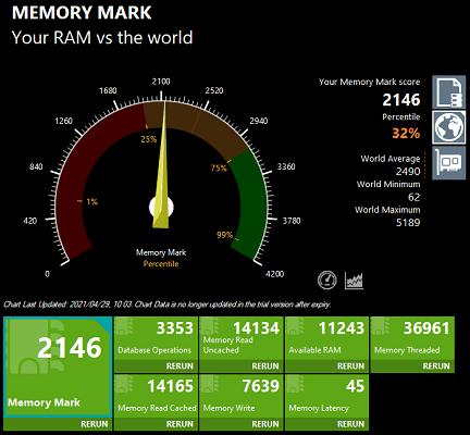 ideapad slim 550 AMD ryzen 7 5700U Memory Mark