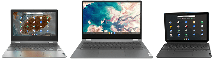 Lenovo Ideapad Flex 360 ChromebookとFlex 550i Chromebook、IdeaPad Duet Chromebookの筐体比較