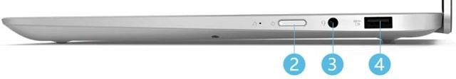 Lenovo IdeaPad S450 13.3型 右側面インターフェース