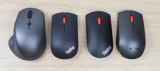 Lenovo プロフェッショナル ワイヤレスマウス、ThinkPad エッセンシャル ワイヤレスマウス、ThinkPad Bluetooth サイレントマウス、ThinkBook メディア ワイヤレスマウス