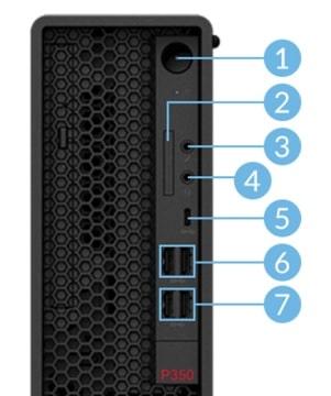 Lenovo Thinkstation P350 SFF 正面インターフェース