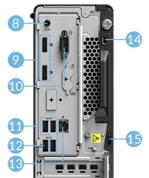 Lenovo Thinkstation P350 SFF 背面インターフェース