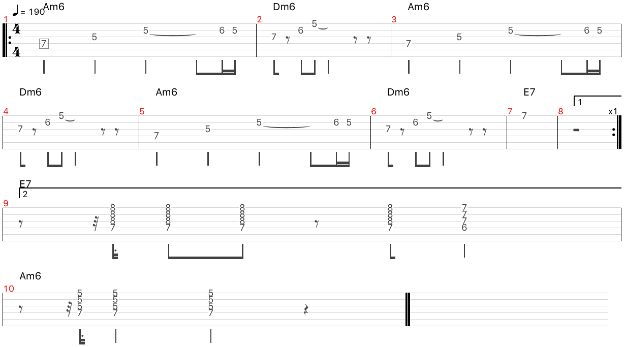 minor swing melody tab