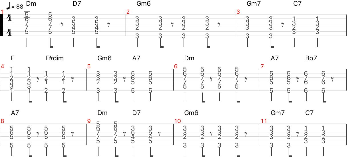 clair de lune バッキング コード タブ譜