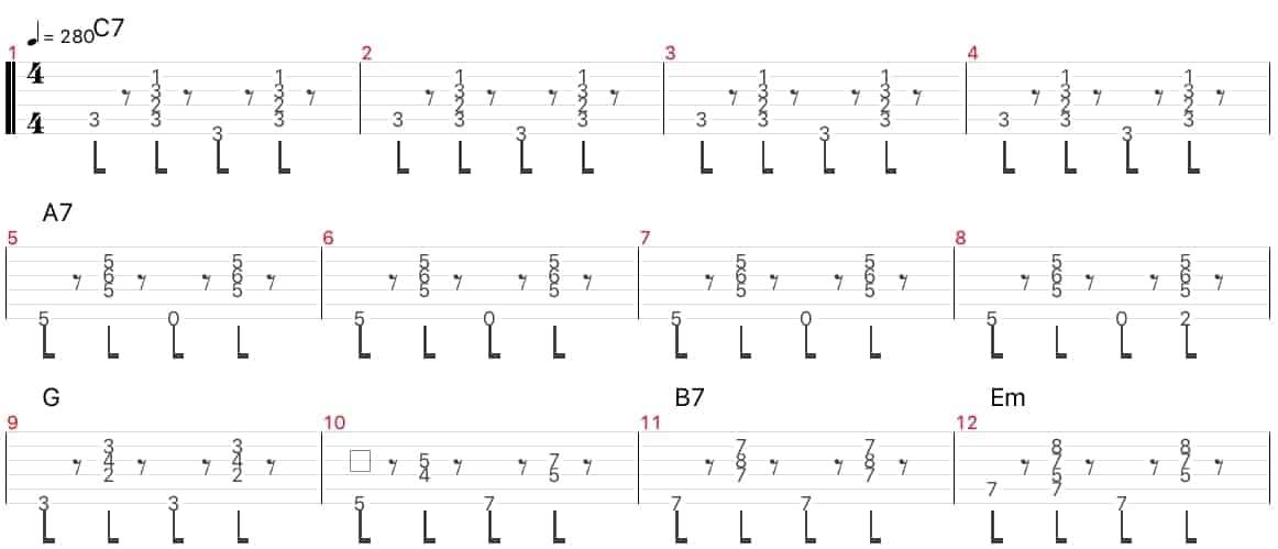 ジプシージャズ・limehouse bluesのジャンゴラインハルトのソロのtab コード進行