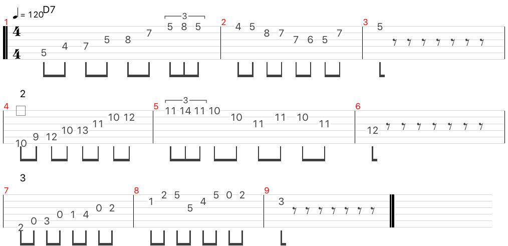 D7 アルペジオ フレーズ
