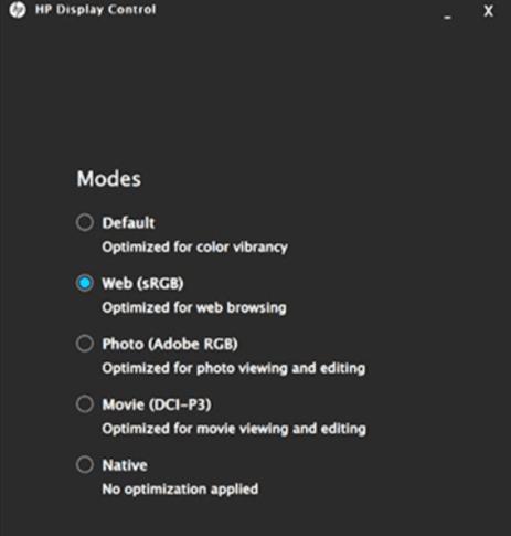 HP Envy 15・色域を変換できるモードがある