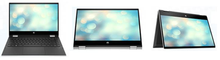 HP Pavilion x360 14-dw0000の外観・ノートブックモード、テントモード、タブレットモード、スタンドモード