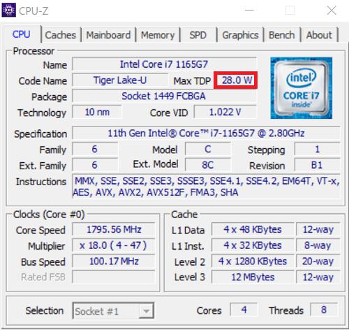 Core i7-1165G7をCPU Zで調べた結果