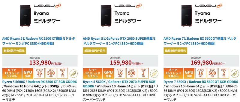 パソコン工房 Ryzen 5000シリーズ搭載モデル