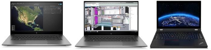 HP ZBook Create G7と比較機種の筐体