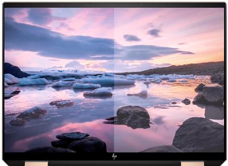 HP Spectre x360 14(2020年モデル)のディスプレイ 左がブルーライトカット 右が通常