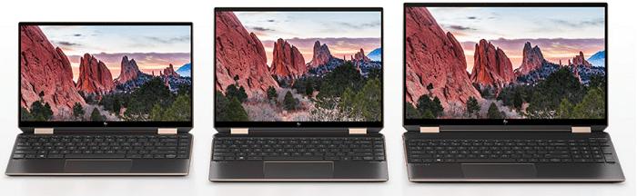 HP Spectre x360 14(2020年モデル)とSpectre 13、15との画面の比較