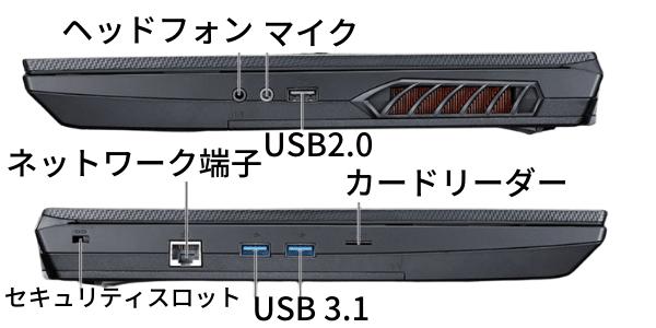 G-Tune E5-Dの側面インターフェイス
