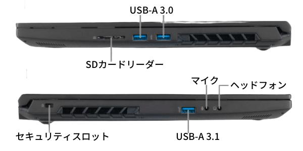 G-Tune H5の側面インターフェイス