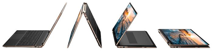 HP Spectre x360 15-eb1000の外観 デスクトップモード、テントモード、スタンドモード、タブレットモード