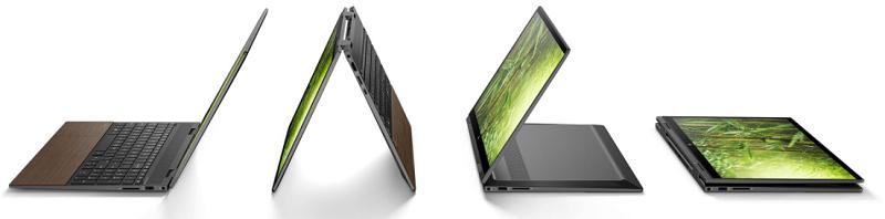 HP Envy x360 15-ed1000(インテル)の外観、デスクトップモード、テントモード、スタンドモード、タブレットモード