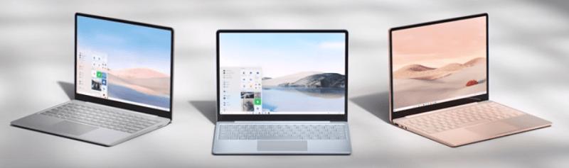 Surface Laptop Goの3種類のカラー