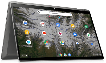 HP ChromeBook x360 14c テントモード