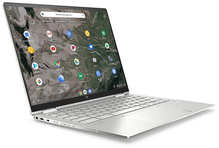 HP Chromebook x360 13cの外観 左斜め前から